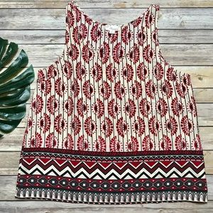 Patterned Tribal Inspired Tank Top Large